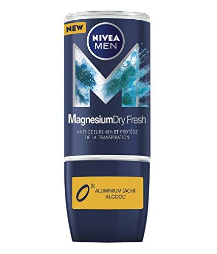NIVEA MAGNESIUM DRY Déodorant bille Dry Fresh Homme (1 x 50 ml), Déodorant homme sans sels d'aluminium ni alcool, Roll-on fraîcheur 48H