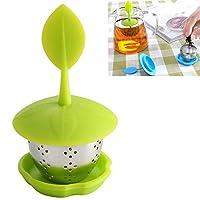 家庭と台所 茶器フィルター CZステンレス鋼のシリコーンティーバッグティーストレーナーをハンギング(オレンジ) (色 : 緑)