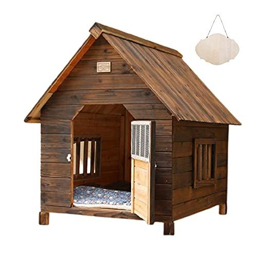 Caseta para Perros - Casetas para Perros de Madera Jaula - Casa para Perros Gatos Conejo Cobaya Impermeable - Caseta Mascota para Exterior e Interior - Casitas para Gatos de Madera Maciza (Size:L)