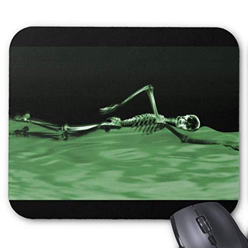 rutschfeste Gummimausunterlage Rechteckige Mausunterlagen für Computer Laptop (20x24cm) -x Strahlenskelett schwimmende grüne Mausunterlage
