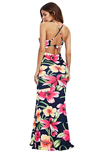 SheIn Women's Floral Strappy Backless Summer Evening Party Maxi Dress Navy Flower Medium