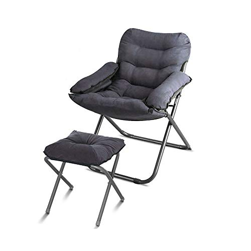 Learn More About LJHA Sofa Chair Computer Chair Backrest Seat Folding Sofa Chair, with Footstool + Pillow, Detachable Cloth Cover, Steel Feet, 7 Colors Lounge Chair (Color : Gray)