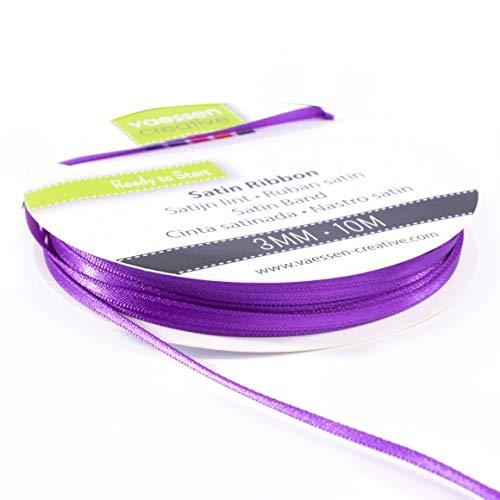 Vaessen Creative 301002-0016 Satinband Lila, 3 mm x 10 Meter, Schleifenband, Dekoband, Geschenkband und Stoffband für Hochzeit, Taufe und Geburtstagsgeschenke, 3MM