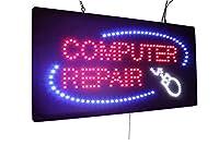 コンピュータ修理の印、良質LEDの開いた印、店の印、ビジネス印、Topking LEDによるWindowsの印