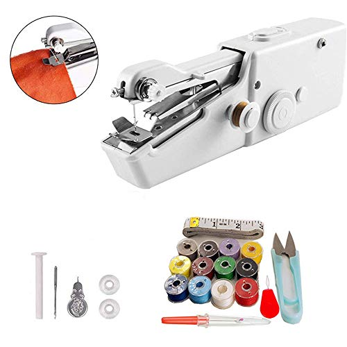 Review Of WE&ZHE Handheld Sewing Machine,Portable Mini Sewing Machine Cordless,Quick Handy Stitch for Home Or Travel Beginners and Novices Use,White,B