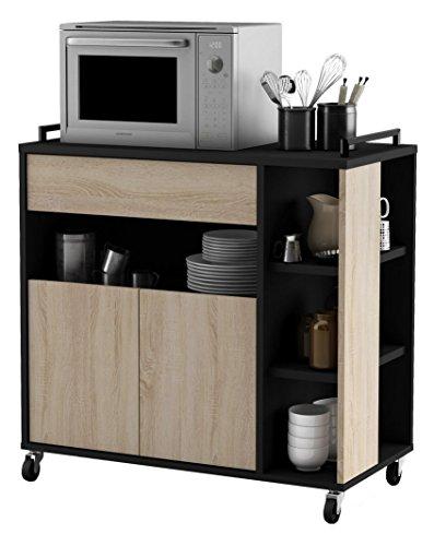 habeig Küchenwagen Eiche mit schwarz #357283 Küchentrolley Schublade Holz Rollen