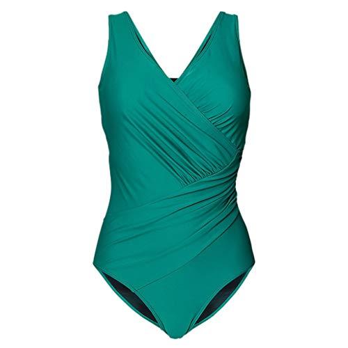 HOTstar Damen Badeanzug Gepolsterter Badeanzug Monokini Push Up Bikini Sets Bademode(Grün,Large)