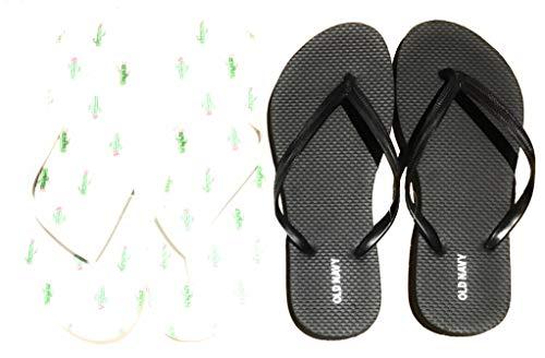 Old Navy Damen Strand Sommer Casual Flip Flop Sandalen, Schwarz (Weißer Kaktus und Schwarz (2 Paar) mit Tasche), 39 EU