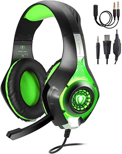 TR Turn Raise Gaming Headset mit Mikrofon für PC/ PS4/ Xbox one/Playstation 4 (Grün)