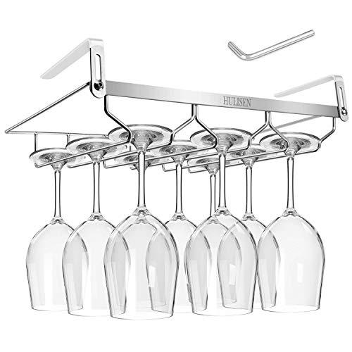 HULISEN 04 -138 inch Adjustable Thickness Wine Glass Rack Under Cabinet 3 Rows Stemware Rack 188 Stainless Steel Glasses Holder Storage Hanger for Kitchen Bar