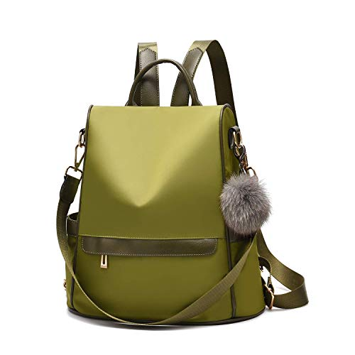Women Daypack Backpack Lightweight Stylish Purse Waterproof Nylon or PU Leather Fashion Shoulder Bag Anti-theft Travel Daypack Rucksack (L, Green-Large)