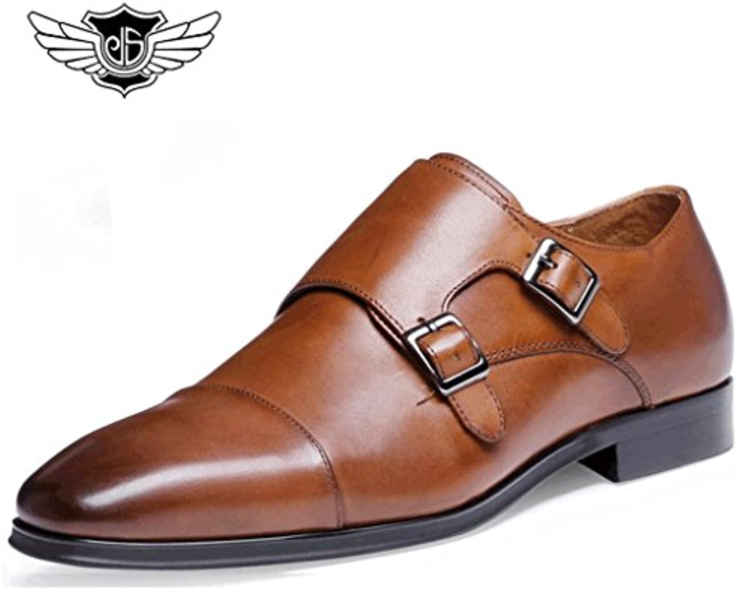 Desai Mens Formal Double Buckle Real Leather Monk Strap pointed toe shoes-Blcak