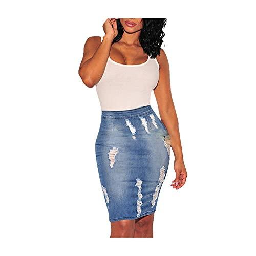 N\P Falda de mezclilla de cintura alta para mujer