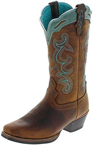 Justin Boots Damen Cowboy Stiefel SVL7311 Tan Westernreitstiefel Lederstiefel Braun 37.5 EU