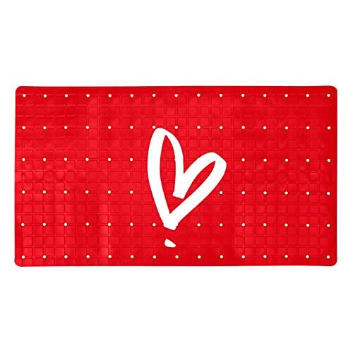 Alfombrilla de baño con diseño de corazón rojo