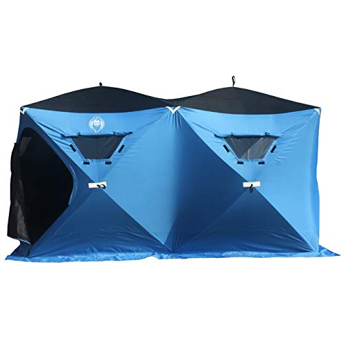 Nordic Legend 6 Person Portable Ice Fishing Shelter with 2 Big Doors-Diamond Door Guard System