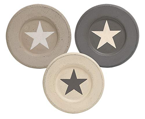 Hearthside Set of 3 Decorative Wooden Star Plates in Taupe, Beige, Grey