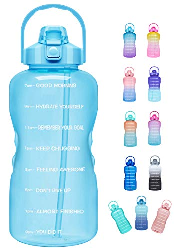 Venture Pal Large Half Gallon/64oz Motivational Water Bottle with Time Marker & Straw,Leakproof Tritan BPA Free Water Jug,Ensure You Drink Enough Water Daily for Fitness,Gym,Sports-Sky Blue