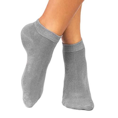 lampox® - Sneaker Bambussocken - 6 Paar - Geruchshemmend - Antibakteriell - Socken (39-42, Grau)