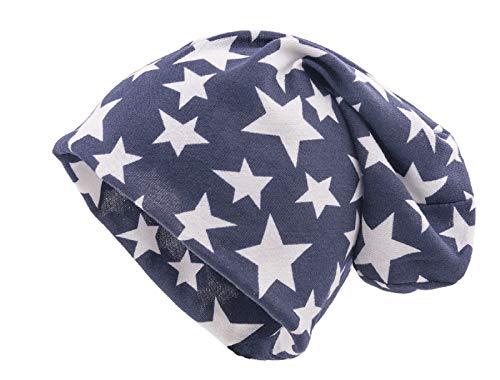 shenky - Gorro caído - Ideal para la pérdida de Cabello y Durante un Tratamiento - Azul con Estrellas Blancas