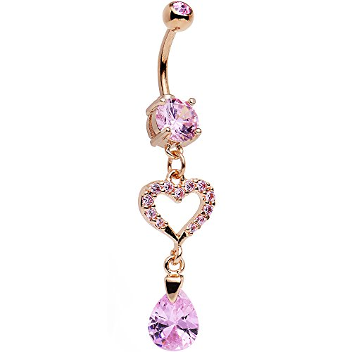 Body Candy Rose Gold Plated Stainless Steel Pink Accent Drop of a Heart Dangle Belly Ring