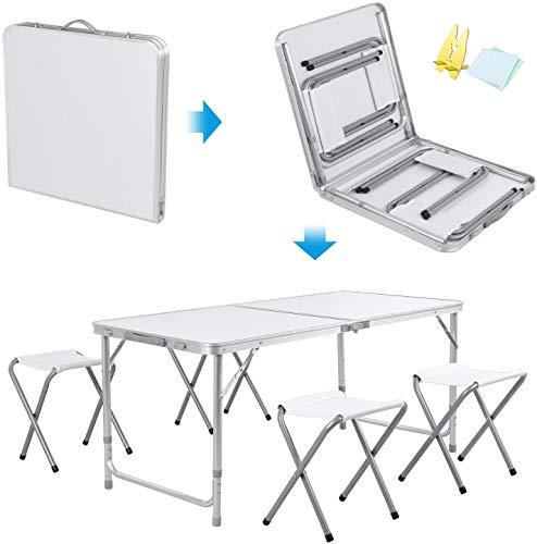 LPing Table Pliante de Camping de Pique-Nique avec 4 chaises Pliables Table de Jardin extérieure Portable pour Banquet de Pique-Nique au Barbecue,Table de Travail réglable,120 cm Bleu