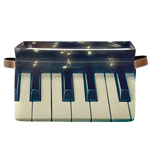 JinDoDo - Cestas cuadradas de almacenamiento para piano y teclado y notas musicales, caja de almacenamiento plegable, impermeable, interior para armario de baño, juego de 1
