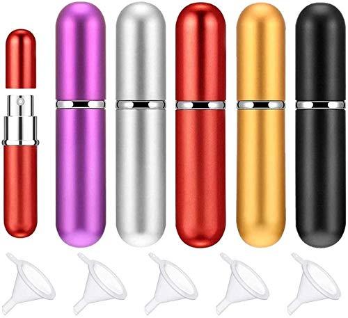 SIMIN 5 pcs 5 ml atomizador de Perfume,botella vacío pulverizador del perfume de atomizadores bomba recargable nebulizador de Viaje + 5 embudos