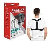 MUELLER Posture Corrector for Women and Men, Adjustable, One Size Fits Most | Back Brace for Improving Posture and Support of The Upper Back, Black
