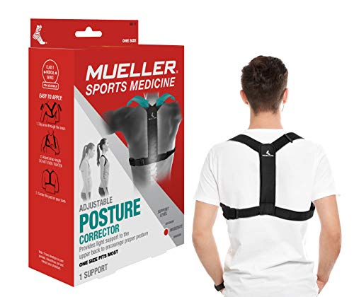 MUELLER Posture Corrector for Women and Men, Adjustable, One Size Fits Most | Back Brace for Improving Posture and Support of The Upper Back, Black