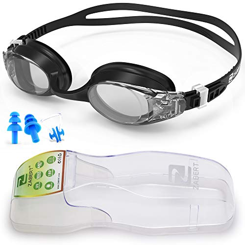 ZABERT Schwimmbrille mit Sehstärke Kurzsichtigkeit Myopie Schwimmbrillen, Antibeschlag Kurzsichtig Optische Gläser Schwimmbrille, für Erwachsene Damen Herren Kinder Dioptrien -3.0 Schwarz