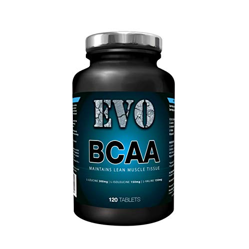BCAA Tablets | EVO Branched Chain Amino Acids | BCAAs with Added Vitamin B6 | 2:1:1 Nutrition Ratio | Gluten Free | Vegetarian | 120 Tablets | Food Supplement | 60 Servings | EVO Supplement