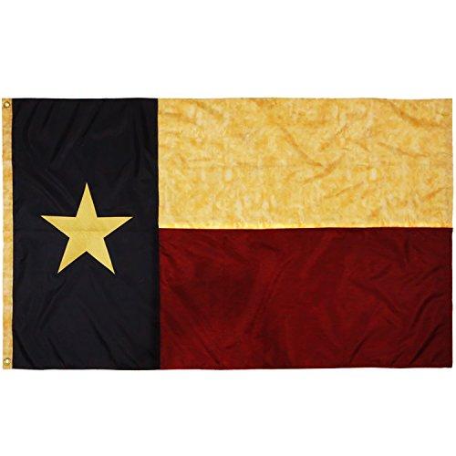 ANLEY Bandeira do estado do Texas manchada de chá em estilo vintage 3x5 pés de nylon - estrelas bordadas e listras costuradas - 4 linhas de costura de bloqueio - antiqued texano TX Bandeiras
