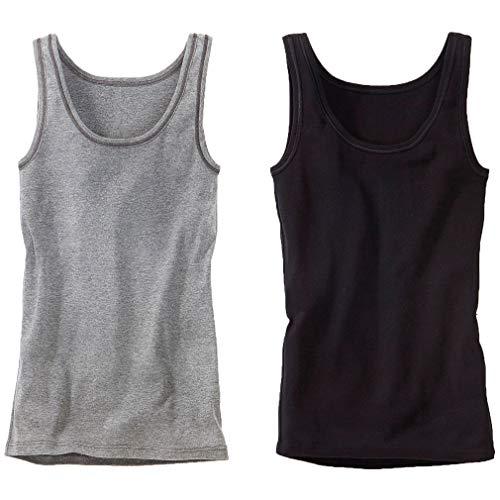 Bench Damen Tank Tops, 2er Pack, Unterhemden, Feinripp, Baumwolle, tolle Farben (44/46, schwarz + grau meliert)