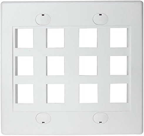 RiteAV - Keystone Wall Plate Double Piece security Luxury White 12-Port 1 Gang