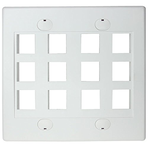 RiteAV - Keystone Wall Plate Double Gang 12-Port White (1 Piece Flush)
