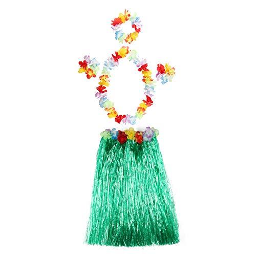 Gobesty Hawaiian Hula Grass Rok, 5 STKS Hawaiian Party Kostuum Set Hula Rok met Ketting Armbanden Hoofdband voor Meisjes Vrouwen Hawaiian Party