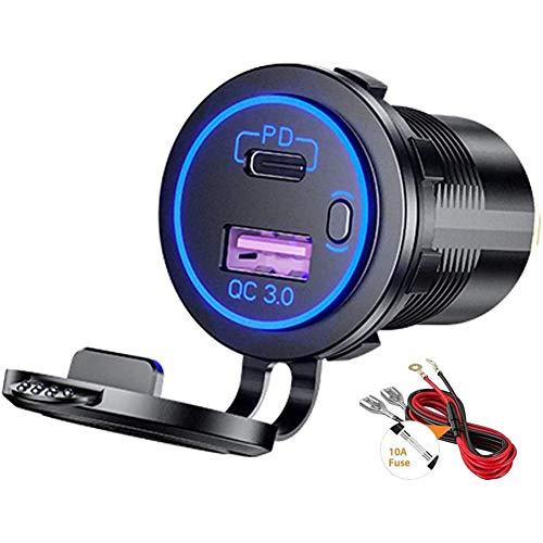 Sundey Cargador de Coche USB PD Tipo C y Cargador RáPido QC 3.0 Toma de Corriente de 12 V con Interruptor de Encendido/Apagado para Motocicleta RV ATV, Azul