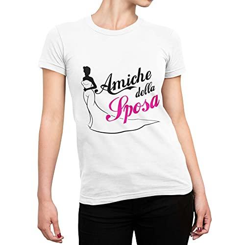 CHEMAGLIETTE! Maglietta Addio al Nubilato T-Shirt Divertente Donna con Stampa Amiche della Sposa Tuned, Colore: Bianco, Taglia: S