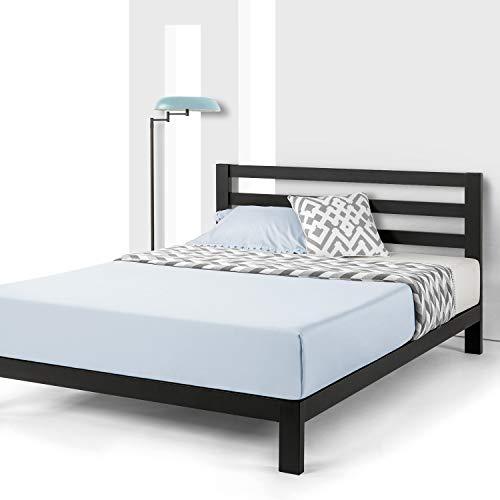 Mellow 10 inch Heavy Duty Metal Platform Bed W/Headboard/Wooden Slat Support/Mattress Foundation (No Box Spring Needed), King, Black