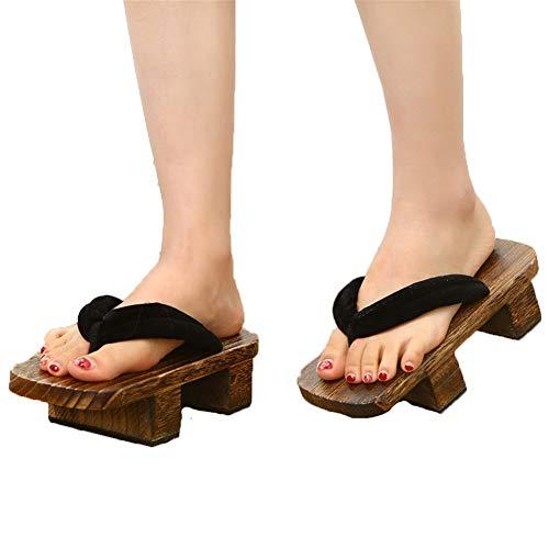 XPuing Men Stage Performance Geta Zapatillas de madera japonesas Zuecos Chanclas Sandalias Zapatos Negro (110