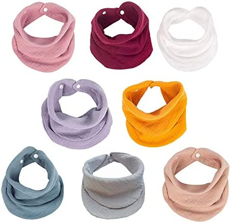 8 Pack Muslin Baby Bandana Bibs Multi Use Scarf Bibs Super Soft Absorbent Drooling Bibs Breathable product image