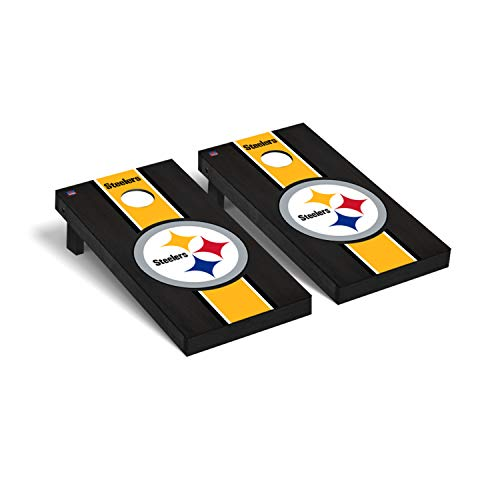 Pittsburgh Steelers NFL Football Regulation Cornhole Game Set Onyx Stained Stripe Version 2 -  Victory Tailgate, 812063