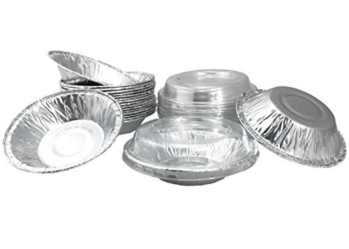 "Aluminum Foil Mini Pie Pans 3-1/2"" For Pie/Tart Pans, Mini Pot Pies And Pastries With Lids 20 Sets."