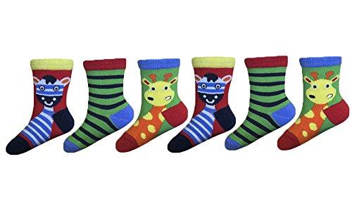 Sock Snob - 6 paires de garçons Bébés Chaussettes multicolore brillant zoo pack et animaux de la ferme (0-15 Eur, Girafe)