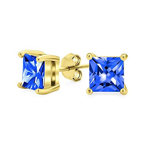 2CT azul cuadrado cúbico Zirconia brillante princesa AAA CZ Pendientes de perno 14K plata de oro plata de ley zafiro simulado