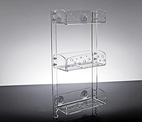 Mensola per doccia dal design moderno in cristallo acrilico trasparente aggancio con ventose ERMES (55x26x12)