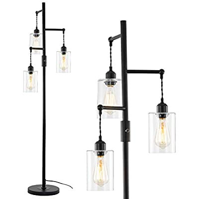 Airposta Industrial Floor Lamp with On/Off Dimmable Switch, 3-Head Rustic Tree Standing Lamp, Edison Bulb 40W Retro Tall Glass Floor Light for Living Room, Reading, Office, Bedroom, Black