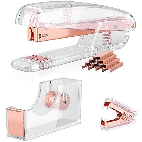 Set de accesorios de escritorio de oro rosa, grapadora con grapas, dispensador de cinta, removedor de grapas, grapadora acrílica para empleados de oficina y estudiantes