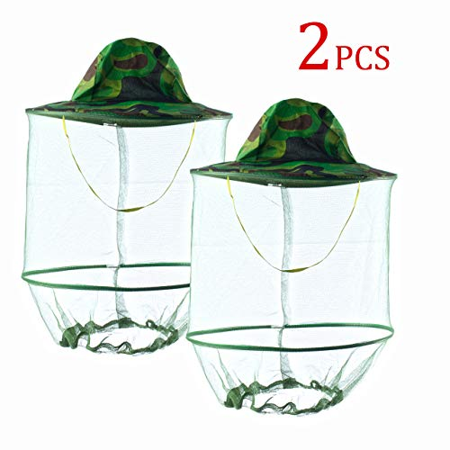 HunterBee 2PCS Mosquito Head Net Veil Mesh hat/Insect bat gnat fish Netting hat/ beekeeper hat with veil/ beekeeping protection hat/ Bug Face Shield/ Soft Durable Fly Screen